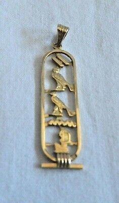 Egyptian Personalized 18K Yellow Gold Cut Out Cartouche 5-6 Letter Names