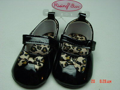 b3b1cf79d3dc NWT Infant Girls Dress Shoes Rising Star Olivia Black Patent Leather Leopard