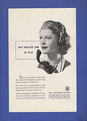1944 Magazine Ad #7028 AT&T Bell Telephone System Operator in Headgear