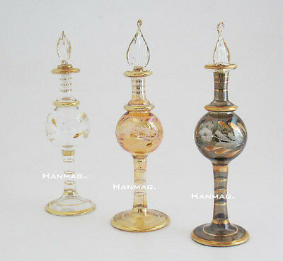 "One 6"" Egyptian Glass Perfume Bottle Handmade + 24K Gold Plated AA#1603"