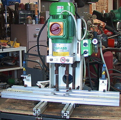 5-spindle GRASS ECOPRESS HINGE BORING MACHINE 3 PHASE 1.5 hp 220 vac with dust c