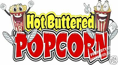 "Popcorn Hot Buttered Concession Decal 14"" Pop Corn Vendor Food Truck Sticker"