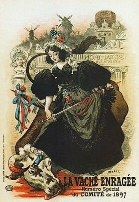 AP134 Vintage 1897 French Mad Cow Magazine Advertisement Poster Card Print A5
