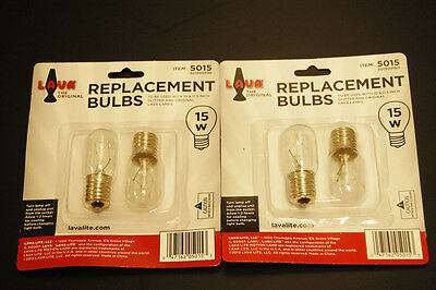 """4 Pack Lava Brand 15 Watt Replacement Bulbs for 10""""/8oz & 10.5""""/12oz lamps"""