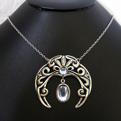Wiccan Pagan Crescent MOON GODDESS Priestess Wicca Silver Necklace Pendant GOTH