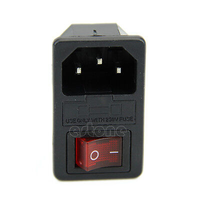 AC 250V 10A 3 Terminal Black Red Power Socket With Fuse Holder New