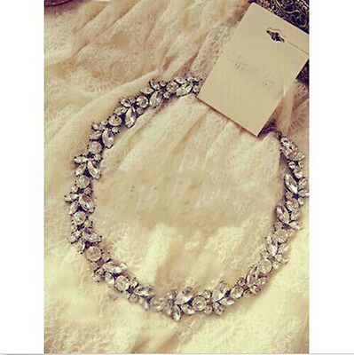 Fashion Crystal Silver Flower Pendant Statement Bib Chunky Charm Choker Necklace