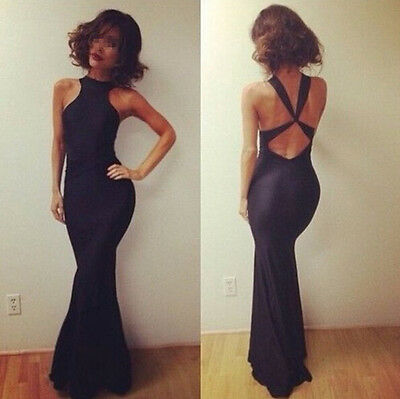 NEW Sexy Women Backless Evening Gown Long Cocktail Maxi Party Dress Sexy Black