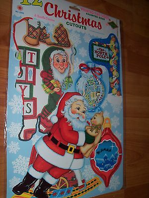 1991 Beistle 12pc Christmas Cutouts Wall Decorations Diecuts  NIP