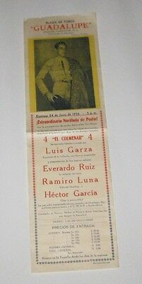 "1956 ORIGINAL MEXICAN BULLFIGHTING GUADALUPE Advertisement Sheet 5-1/4"" x 17.5"""