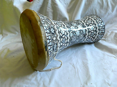 """Egyptian Mother of Pearl Wooden Drum-Tabla-Doumbeck 8.5"""" Head and 17"""" High WOW!!"""