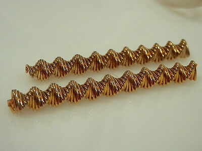 Vintage 1970s Modernist Gold Tone Hair Pin Duo  18A4