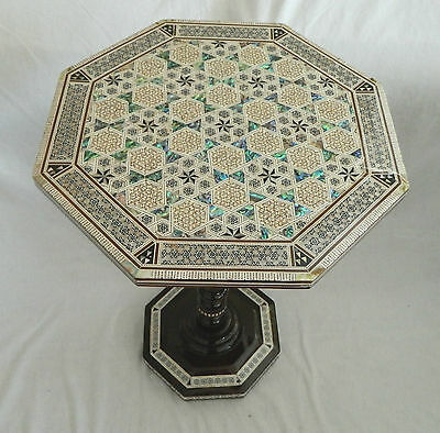 "1 Egyptian Inlaid Mother Pearl Paua Wood Table Octagon 17.25"" Diameter X 24""High"