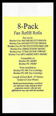 8-pack of PC-402RF Fax Film Refill Rolls for Brother Fax MFC-660MC and MFC-960MC
