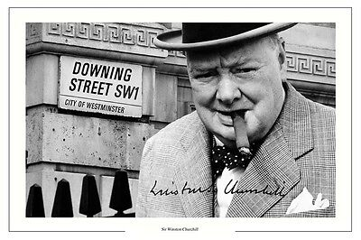 Winston Churchill Autograph Signed Photo Print Great Britian Prime Minister Wwii
