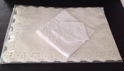 Vintage Linen Embroidered Cut See Through Lace Silky Feel 7pcs 19X13