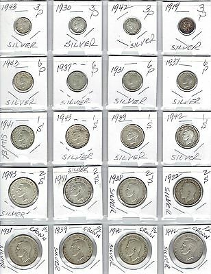 GREAT BRITAIN Lot of 20 Silver Coins - UK Silver Lot - Date range 1919 - 1943