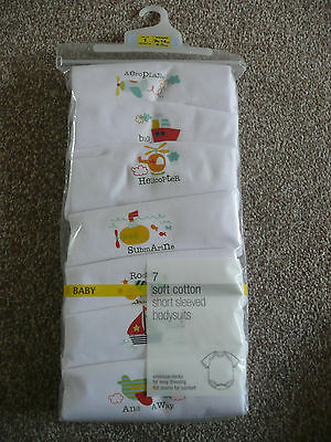 BNIP M&S 7 Pack Boys Short Sleeved Bodysuits up to 1 Month (9lb 14oz 4.5kg)