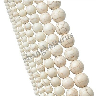 100% Natural White Turquoise Spacer Loose Charms Beads Jewelry 4 6 8 10 12 14mm