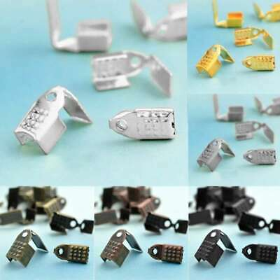 20g(60/100pcs) Iron Ribbon Necklace Cord Clamps End Tips 9x4/11x4.5mm 6 Color