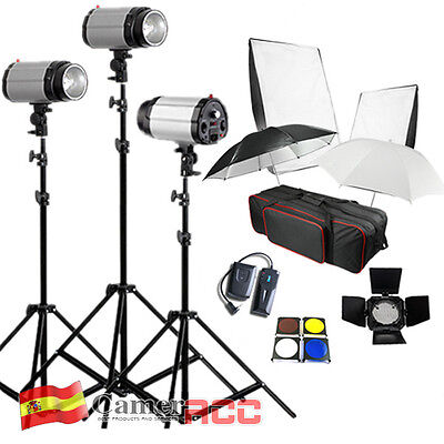 Flash Estudio Kit Iluminación 3 Estroboscopio 3*250W 750W Canon Nikon