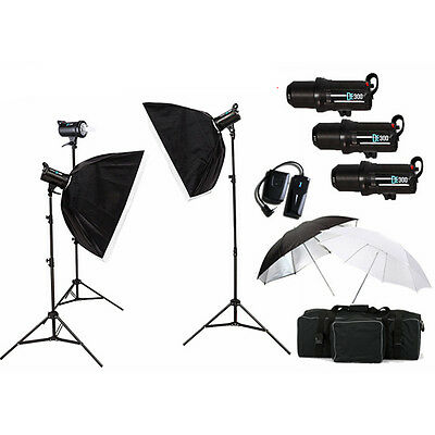 Flash Estudio Kit Iluminación 3 LED Estroboscopio 900W + Caja Suave + Softbox