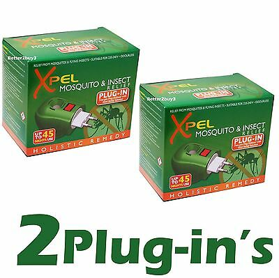 2 x Plug In Mosquito & Insect Repellent Lasts 45 Nights Xpel Euro