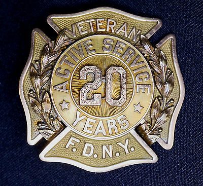20 year Veteran Active Service Pin FDNY Fire Dept 14k Gold 1918 @SEE BELOW@ RARE