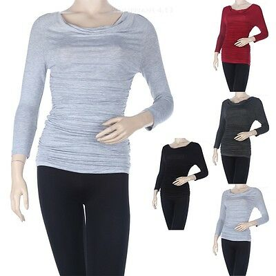 Solid Ruched Side Cowl Neck Top 3/4 Sleeve Maternity Stretchable S M L