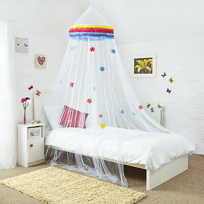 Rainbow Bed Canopy with Decorated Flowers For Single Double or Kingsize