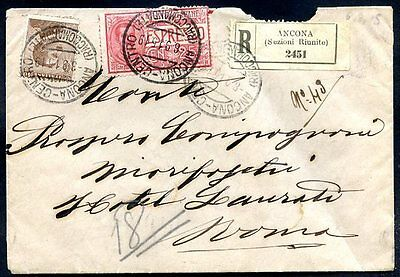 ITALY ANCONA TO ROME Registered Cover 1915, NICE!