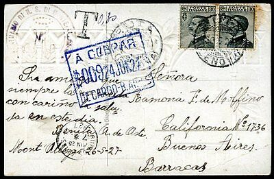 ITALY TO ARGENTINA Circulated Postcard w/TAXE VF