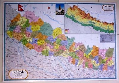 Large Laminated Map Of Nepal.Kathmandu Himalayas Mount Everest Flag