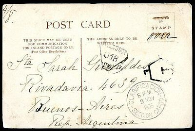 GREAT BRITAIN TO ARGENTINA Circulated Postcard 1903 w/TAXE, VF