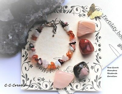 Fertility  Bracelet Crystals Gemstones Gift Set Chakra  Pregnancy Large Stones