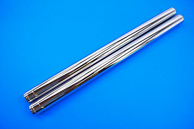 "Custom Cycle Show Chrome Fork Tubes 39mm 24.25"" Stock Length  T1345"