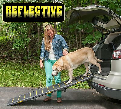 "NEW! Pet Gear Extra Wide Tri-Fold Reflective  Dog / Pet Ramp 71"" Long PG9300RF"