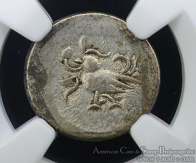 Cambodia 1/8 Tical (1847-60) AU Details NGC billon KM#32.2 Rooster 2PE.