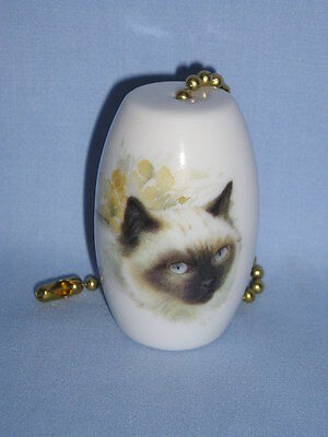 Himalayan Cat Fan and Light Pull Porcelain Handmade 2 Inch Long Fired Decal-L