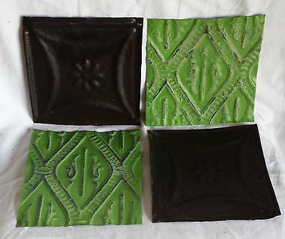 "4 6"" x 6""  Antique Tin Ceiling Tiles *SEE OUR SALVAGE VIDEOS* Green & Rust Ap2"