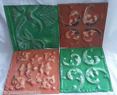 "4 6"" x 6"" Antique Tin Ceiling Tiles DD11 Green Orange"