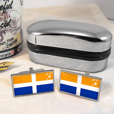 Scilly Isles Scillonian Cross Flag Cufflinks & Box