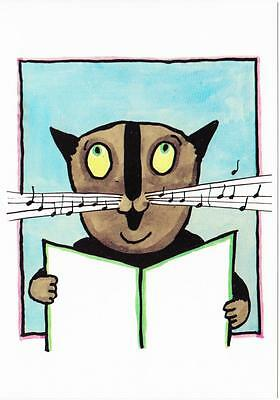 Cat and Musical Notes on Whiskers by Tomi Ungerer Postcard