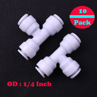 """10pcs 1/4"""" 3way Union Tee Quick Connect Push Fit RO Water Reverse Osmosis Filter"""