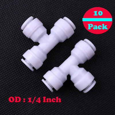 """10x 1/4""""Union Tee Quick Connect Coupler 3way Fit RO Water Reverse Osmosis Filter"""