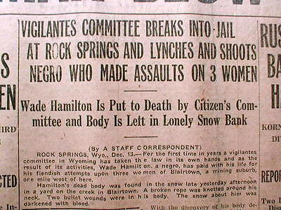 1917 newspaper NEGRO MAN LYNCHED at ROCK SPRINGS Wyoming for rape of White women