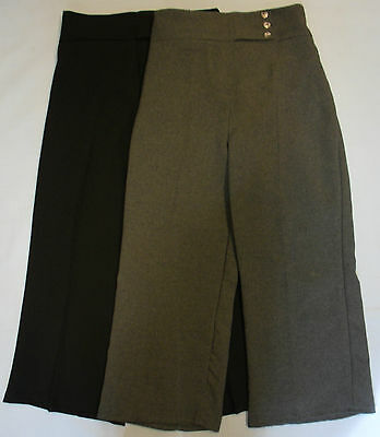 Girls School Uniform Trousers Bottoms Black Navy Grey Elasticated Three Button