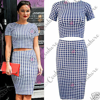 Womens Bodycon Two Piece Outfit Gingham Print Crop Top and Skirt Matching 2 Set