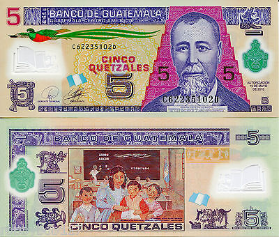 GUATEMALA 5 Quetzel Banknote World Currency Money BILL Polymer Note p122 Bird