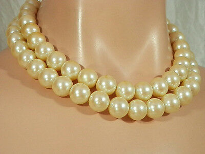 Vintage 1970s Heavy Large Bead Faux Peart 2 Strand Necklace Very Nice  165JL4